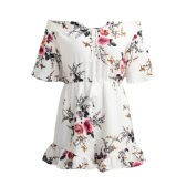 Sexy Women Off Shoulder Jumpsuit Short Rompers Boho Floral Slash Neck Tie Flare Sleeve Ruffle Casual Playsuit Khaki/White