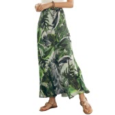 Sexy Women High Waist Boho Leaf Print Long Skirt Maxi Beach Vintage Summer Casual Skirt Green