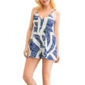 New Sexy Women Strap Jumpsuit Irregular Print V-Neck Backless Wide Leg Boho Playsuit Rompers Blue