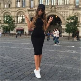 Fashion Women Pencil Dress Round Neck Short Sleeve Knee Length Bodycon Bandage Partywear Black/Dark Green