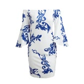 Women Off the Shoulder Dress Flare Sleeves Porcelain Print Slash Neck Three Quarter Sleeve Mini Pencil Dress White