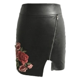 Europe Sexy Women Mini PU Skirt Floral Embroidery Solid Color Irregular Bodycon Casual A-Line Skirts Black