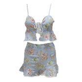 Women Two Piece Set Crop Top Shorts Floral Print Sleeveless Lace Up High Waist Ruffle Sexy Beach Suit Light Blue