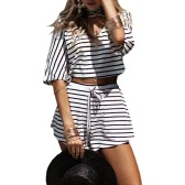 Women Two-piece Set Stripe Jumpsuit Romper Strap Bow Waist Tie Overalls Summer Beach Playsuit White
