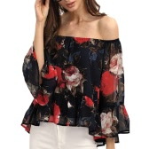 Women Chiffon Blouse Off Shoulder Slash Neck Rose Floral Print Flare Sleeve Tops Tee Shirt Black