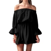 Sexy Women Off Shoulder Dress Flare Sleeves Slash Neck Elastic Waist Sundress Beach Mini Dress Black/White/Rose