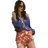 Women Summer Boho Shorts Print Elastic High Waist Casual Beach Hot Pants Trousers Orange