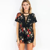 Sexy Women Jumpsuit Floral Print Criss Cross Plunge V-Neck Summer Beach Playsuit Rompers White/Black