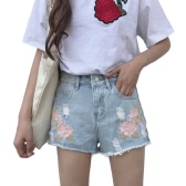 Women Embroidered Denim Shorts Ripped High Waist Destroyed Frayed Hole Washed Distressed Hot Pants Blue