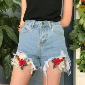 New Fashion Women Denim Shorts Floral Embroidery Frayed Ripped High Waist Slim Short Jeans Light Blue