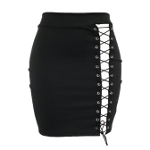 New Sexy Women Bodycon Skirt Lace-Up Hollow Out Bandage High Waist Solid Short Skirt