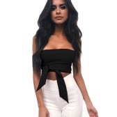 Sexy Women Bodycon Crop Top Blouse Solid Bandage Off Shoulder Backless Sleeveless Casual Clubwear Top