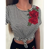New Fashion Women Striped T-Shirt Bordado Floral Short Sleeve Casual Blusa Tee Sexy Crop Top Black
