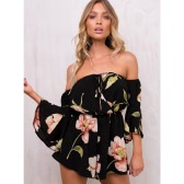 Sexy Women Jumpsuit Floral Print Off Shoulder Bell Sleeves Backless Casual Playsuit Rompers Black