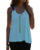 Women Summer Top Casual Sleeveless Vest Shirt Tank Crochet Lace T Shirt