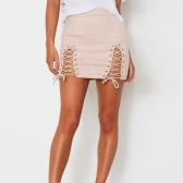 Women Lace-up Suede Skirt Slit Eyelets Straps Party Short Suedtte Mini Skirt