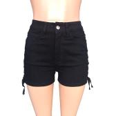 New Sexy Women Denim Shorts Crisscross Lace-Up Bandage Button High Waist Solid Slim Short Jeans White/Black