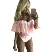 New Sexy Women Jumpsuit Floral Lace Ruffles Off Shoulder Zipper Elegant Club Party Short Romper
