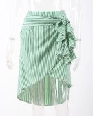 Fashion Women Striped Skirt Asymmetrical Hem Split Ruffles Bandage Hight Waist Irregular Skirt Blue/Green/Pink