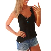 New Women Elastic Tank Tops O-Neck Lace Crochet Vest Slim Bodycon Sexy Summer Camis White/Black