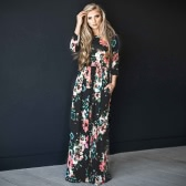 Women Floral Print Maxi Dress O Neck 3/4 Sleeves Pockets Elastic Waist Long Dress Vestidos