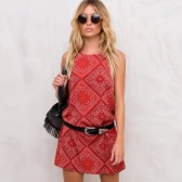 Fashion Women Slip Dress Plaid Vintage Print Spaghetti Strap Sleeveless Loose Chic Mini Sundress Red