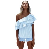 Women One Shoulder Ruffles Blouse Shirt Top Casual Stripe Shirt Short Sleeves Top Pink/Blue