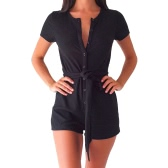 Women Playsuit Solid Color Ribbed Buttons Tie Waist V Round Neck Short Sleeve Casual Jumpsuit