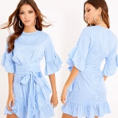 Women Ruffles Striped Dress Flare Half Sleeves