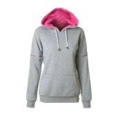 Fashion Women Hoodie Sweatshirts Drawstring Long Sleeve Pocket Casual Solid Warm Pullover Hooded Tops
