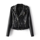 Fashion Women PU Faux Leather Jacket Coat Zipper Belt Long Sleeves Basic Moto Jacket Outerwear