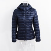New Winter Autumn Women Duck Down Hooded Jacket Zipper Long Sleeves Slim Light Down Coat