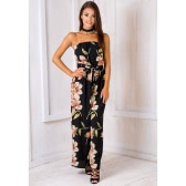 Sexy Women Jumpsuit Floral Print Off Shoulder Sleeveless Elastic Waist Vintage Casual Romper Black