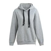 Fashion Women Hoodies Side Zipper Hooded Neck Drawstring Long Sleeves Pullover Sweatshirt