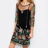 Женщины Sexy Sheer Mesh Dress Цветочная вышивка Спагетти ремень Summer Mini T-Shirt Dress Black