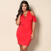 Sexy Women Plus Size Mini Dress Cold Shoulder Ruffle Short Sleeve Cross V Neck Solid Slim Large Size Dress Red