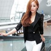 Autumn Women Blazer Jacket Lace Splicing Long Sleeves Slim Suit One Button Casual Coat Work Wear Black/White