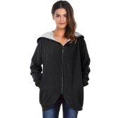Women Autumn Winter Hoodies Zip Up Long Sleeve Plus Size Loose Jacket Hooded Coat Cardigan Parka Black/Army Green
