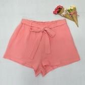 New Fashion Women Elastic High Waist Shorts Bowknot Sash Shorts Streetwear Pink/Yellow