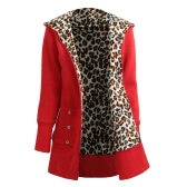Winter Women Hoodies Coat Leopard Fleece Lining Zipper Warm Casual Hooded Outerwear