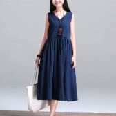 New Vintage Women Cotton Linen V Neck Sleeveless Loose Dress Ruched Waist Relaxed Cami Tank Dress Dark Blue/White