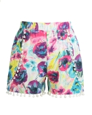 Women Shorts Colorful Floral Print Elastic High Waist Pom Pom Wide Legs Slim Casual Beach Wear