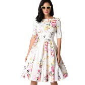 New Vintage Plus Size Floral Swing Dress Round Neck Half Sleeve High Waist Back Zip Party Pleated Dress