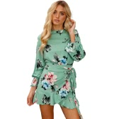 Women Dress Floral Print Tie Skater Ruffle Backless Round Neck Long Sleeve Mini Elegant Cocktail One-Piece