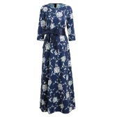 Women Maxi Long Dress Floral Print Belt O-Neck 3/4 Sleeves Elegant Party A-Line Dresses