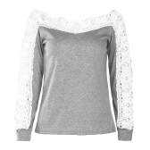 Sexy Women Crochet Lace Blouse Off Shoulder Long Sleeve Casual Hollow Out Autumn T-Shirt Tops