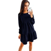 Women Long Sleeve Casual Loose Tiered Dress Solid Color Tunic Mini Dress Pink/Green/Dark Blue