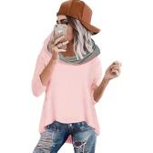 Women Loose Hooded Sweater Irregular Hem Three Quarter Sleeves Casual Soft Elegant Hoodies Top