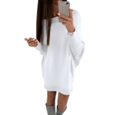 Fashion Women T-Shirt Dress Batwing Sleeve Casual Loose Long Tee Mini Dress