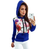 Autumn Winter Women Printed Hoodie Hooded Casual Sweatshirt Tracksuit Pocket Long Sleeve Pullover Top